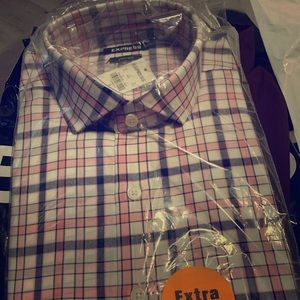 Extra slim Checkered pink shirt   Express M